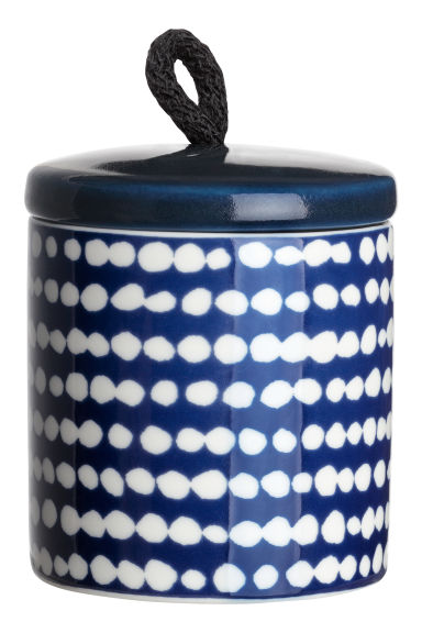Cylindrical pot - Navy blue/White spotted -  | H&M IE