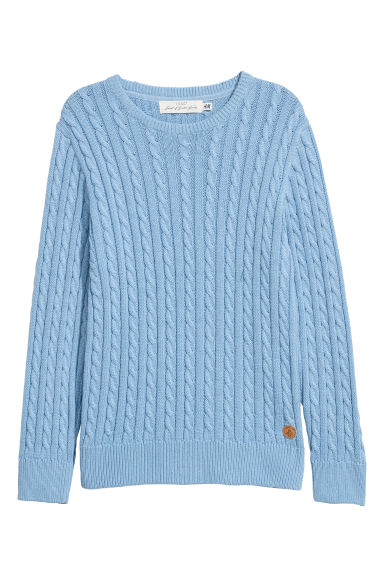 Cable-knit jumper - Light blue -  | H&M