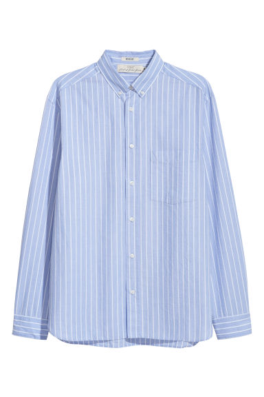 Cotton shirt Regular fit - Light blue/White striped - Men | H&M IE