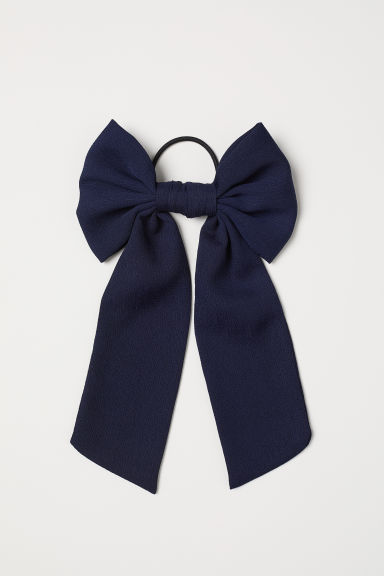 Hair Elastic with Bow - Dark blue -  | H&M US