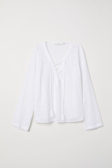 Hole-embroidered cotton blouse - White - Ladies | H&M CN