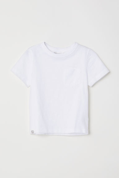 T-shirt with a chest pocket - White - Kids | H&M CN
