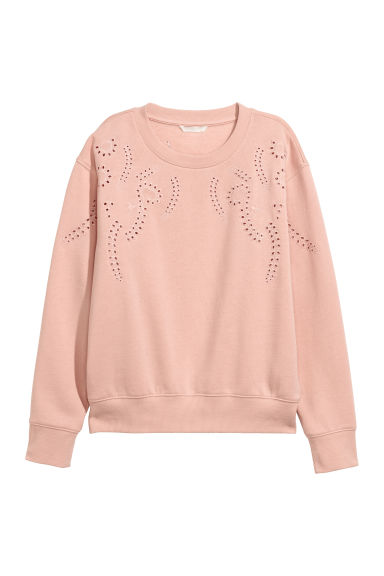 Short sweatshirt - Powder pink/Embroidery - Ladies | H&M
