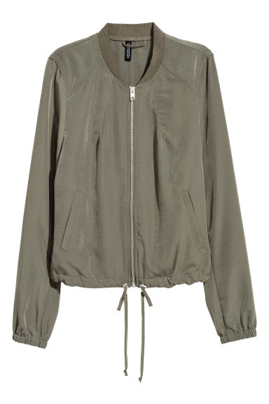 Satin bomber jacket - Dark khaki green - Ladies | H&M