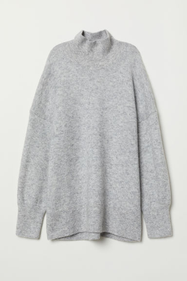 Knitted turtleneck jumper - Light grey marl - Ladies | H&M CN