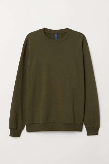 Oversized sweatshirt - Dark khaki green -  | H&M CN