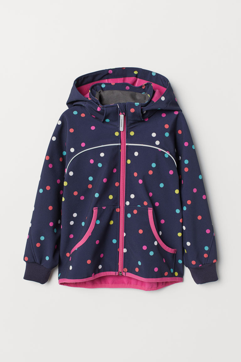 Water-repellent shell jacket - Dark blue/Spotted - Kids | H&M CN