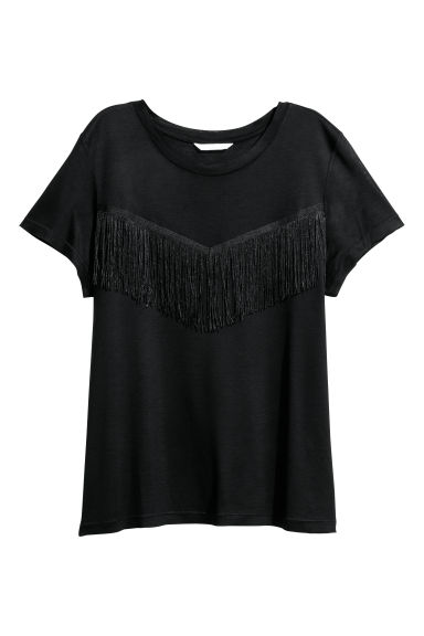 Top with fringing - Black -  | H&M CN