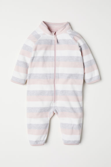 Fleece all-in-one suit - Light pink/Striped - Kids | H&M
