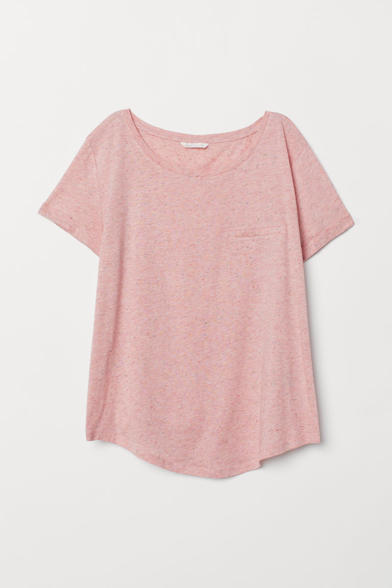 Slub Jersey T-shirt - Light pink/nepped - Ladies | H&M US