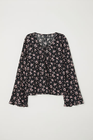 Patterned blouse with lacing - Black/Small floral -  | H&M