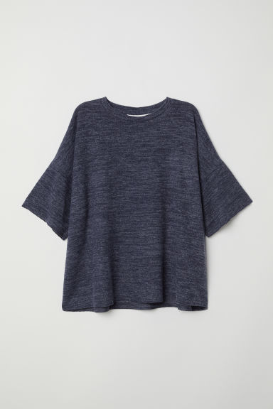 Short-sleeved jumper - Dark blue marl -  | H&M