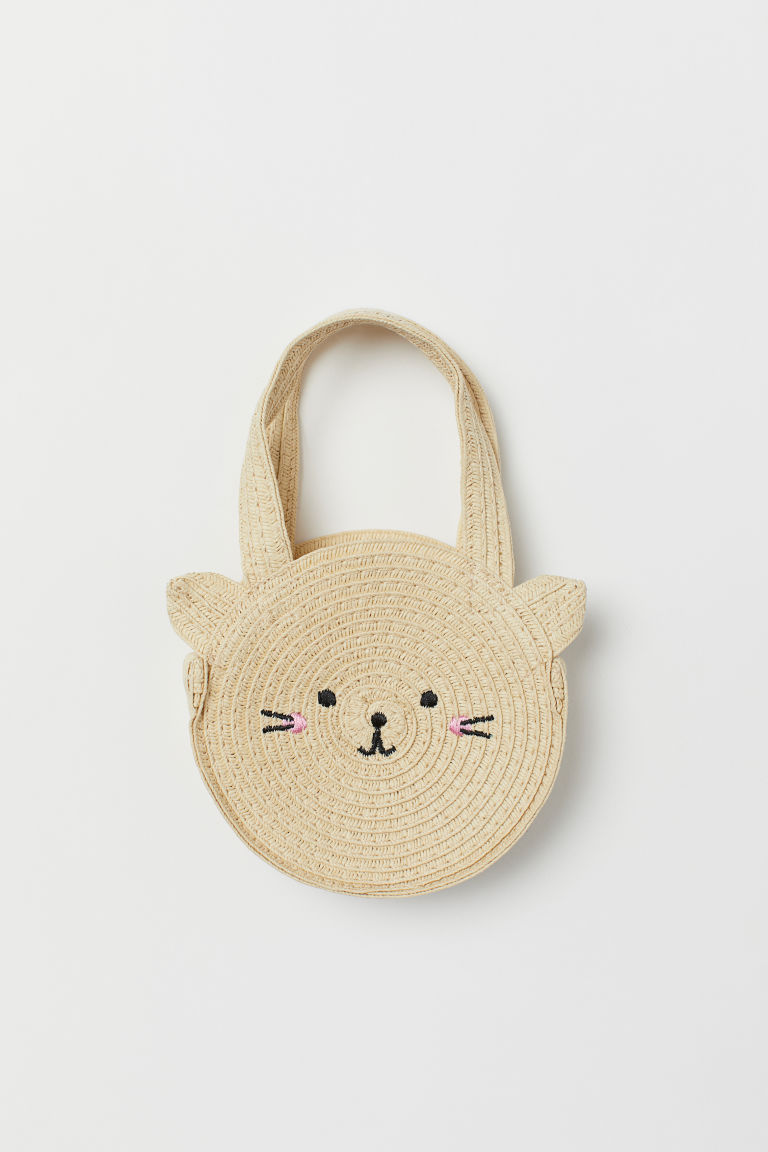 Small Straw Handbag - Natural/cat - Kids | H&M US