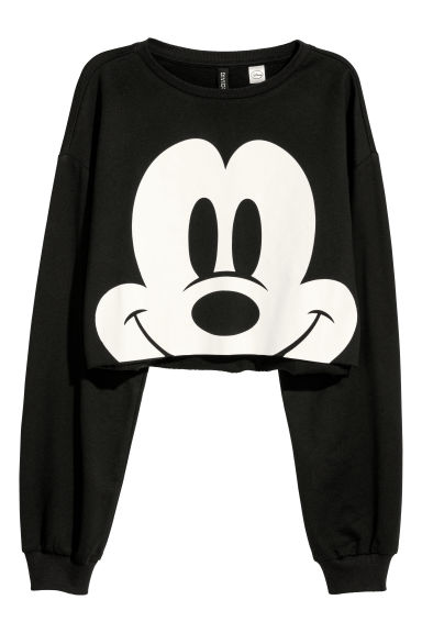 Korte sweater - Zwart/Mickey Mouse - DAMES | H&M BE
