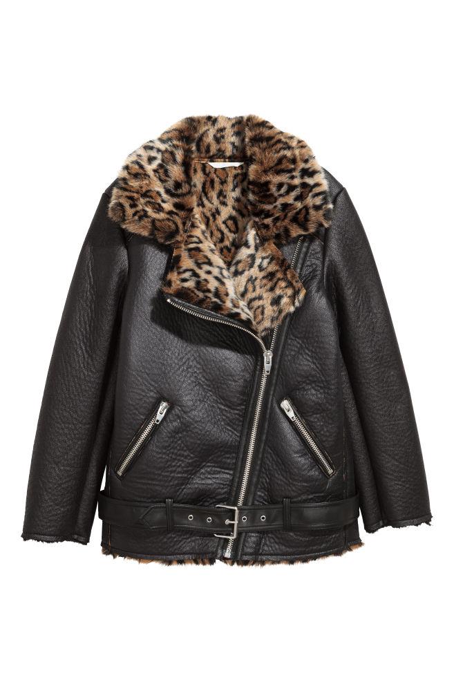 ... Veste oversize de style motard - Noir motif léopard - FEMME   H M ... ed64fd1f06a7