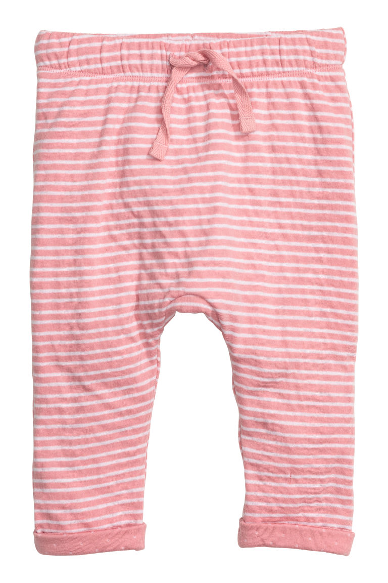 Bonded jersey trousers - Light pink/Striped - Kids | H&M