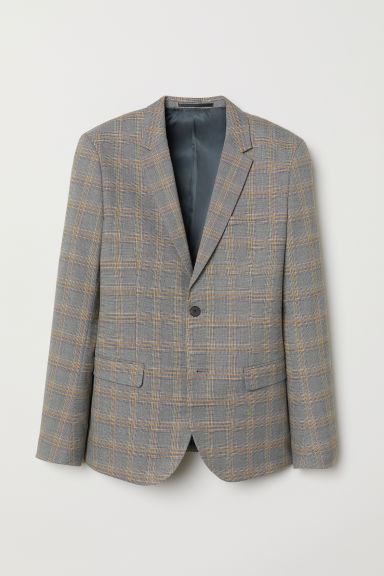 Checked jacket Skinny Fit - Light grey/Checked - Men | H&M