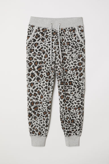Patterned joggers - Grey marl/Leopard print - Ladies | H&M