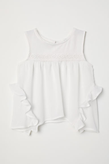 Crinkled blouse - White - Kids | H&M CN