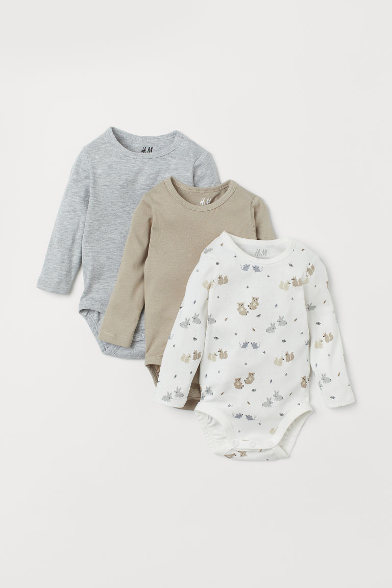 3-pack long-sleeved bodysuits - White/Forest animals - Kids | H&M IE