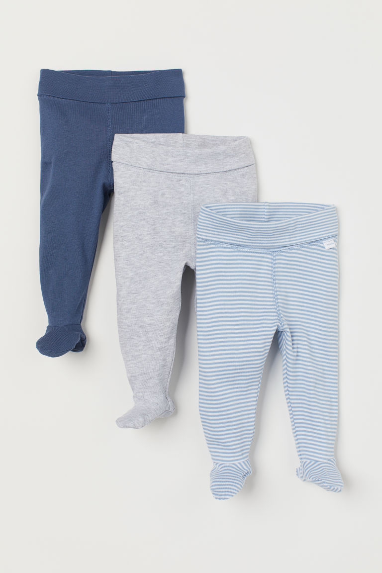3-pack leggings - Dark blue/Striped - Kids | H&M GB