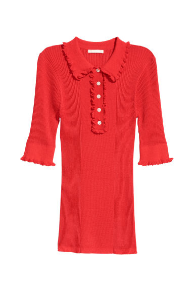 Ribbed jumper - Red - Ladies | H&M CN