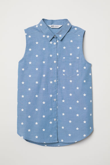 Sleeveless blouse - Blue/Stars - Kids | H&M