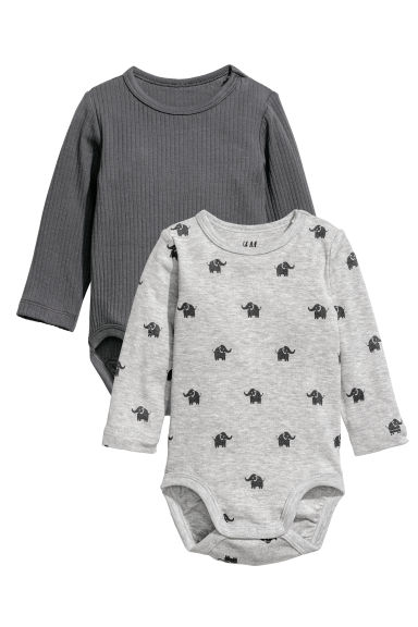 2-pack long-sleeved bodysuits - Light grey/Elephants - Kids | H&M CN
