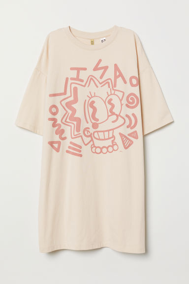 Oversized T-shirt met print - Lichtbeige/The Simpsons - DAMES | H&M BE