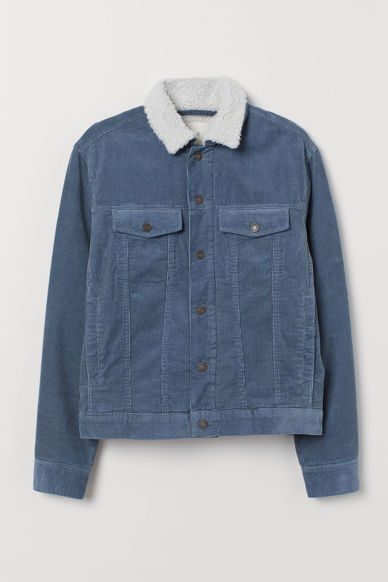 Pile-lined corduroy jacket - Dark pigeon blue -  | H&M