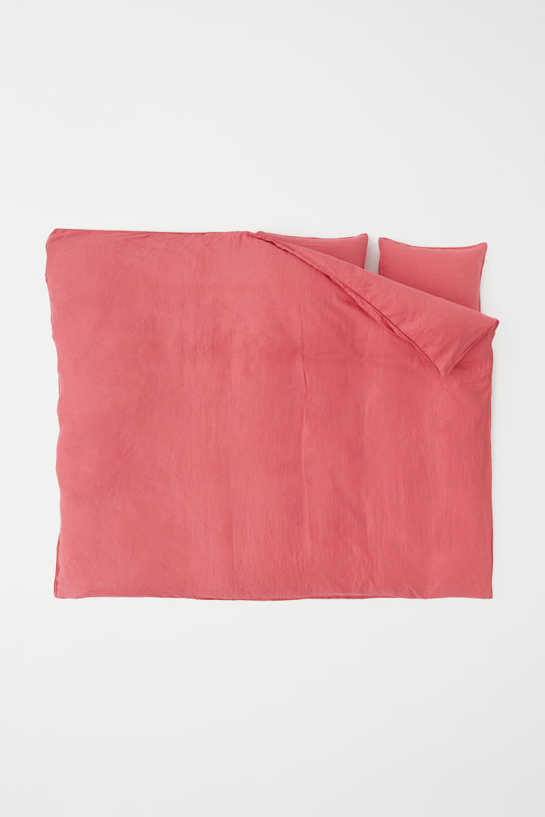 Washed linen duvet cover set - Raspberry pink - Home All | H&M GB