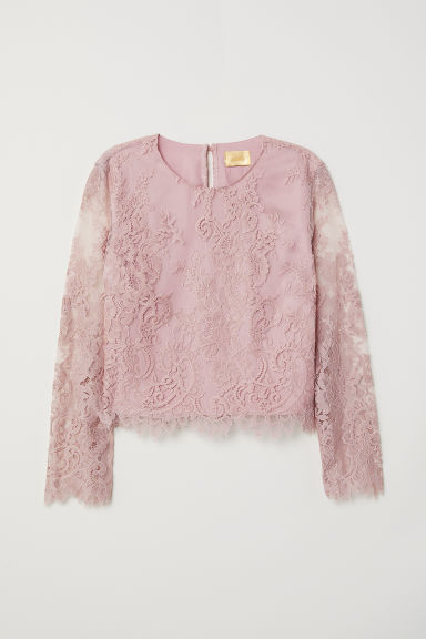 Lace blouse - Vintage pink - Ladies | H&M