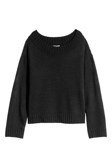 Knitted jumper - Black -  | H&M