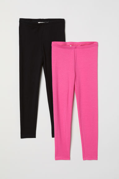 2-pack leggings - Cerise/Black - Kids | H&M CN