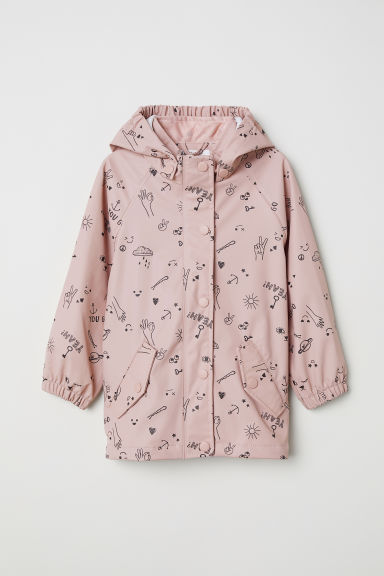Hooded rain jacket - Light pink/Patterned - Kids | H&M CN