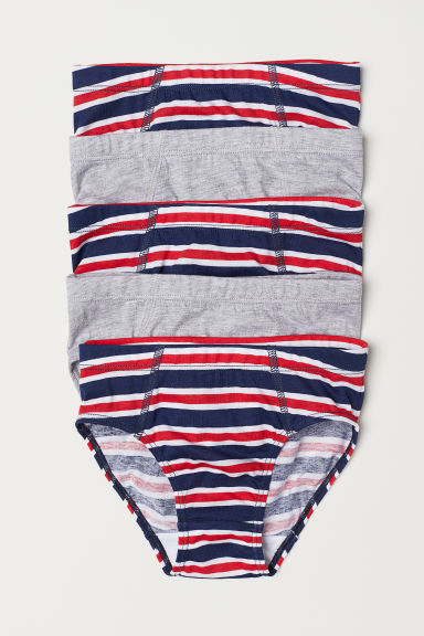 5-pack boys' briefs - Light grey/Red striped - Kids | H&M