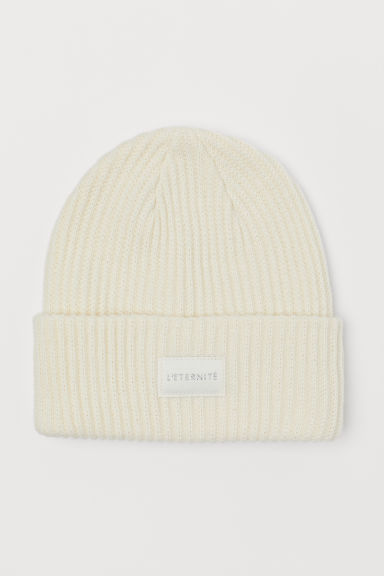 Ribbed hat - Natural white -  | H&M CN