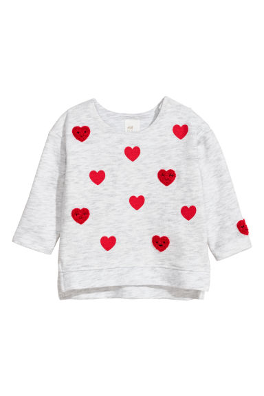 Sweatshirt with hearts - Light grey marl/Hearts - Kids | H&M CN