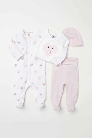 4-piece cotton set - Pink/White - Kids | H&M CN