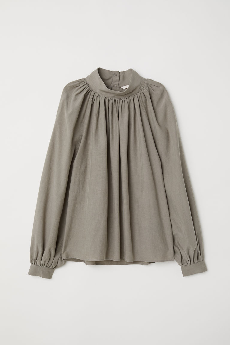 Balloon-sleeved blouse - Khaki green -  | H&M