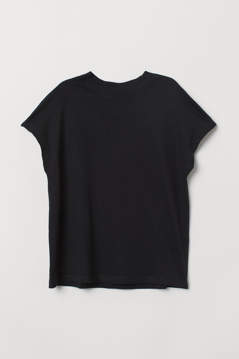 T-shirt med holkermer - Sort -  | H&M NO