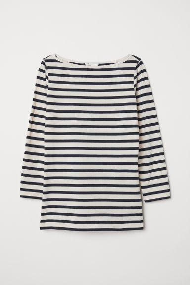 Top in jersey scollo a barca - Bianco nat/blu scuro righe - DONNA | H&M CH