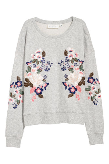 Embroidered sweatshirt - Light grey/Flowers -  | H&M