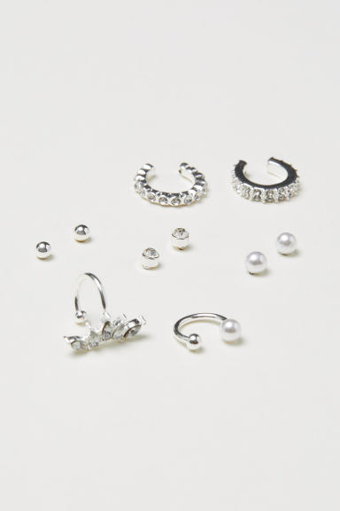 10-pack studs and ear cuffs - Silver-coloured - Ladies | H&M CN