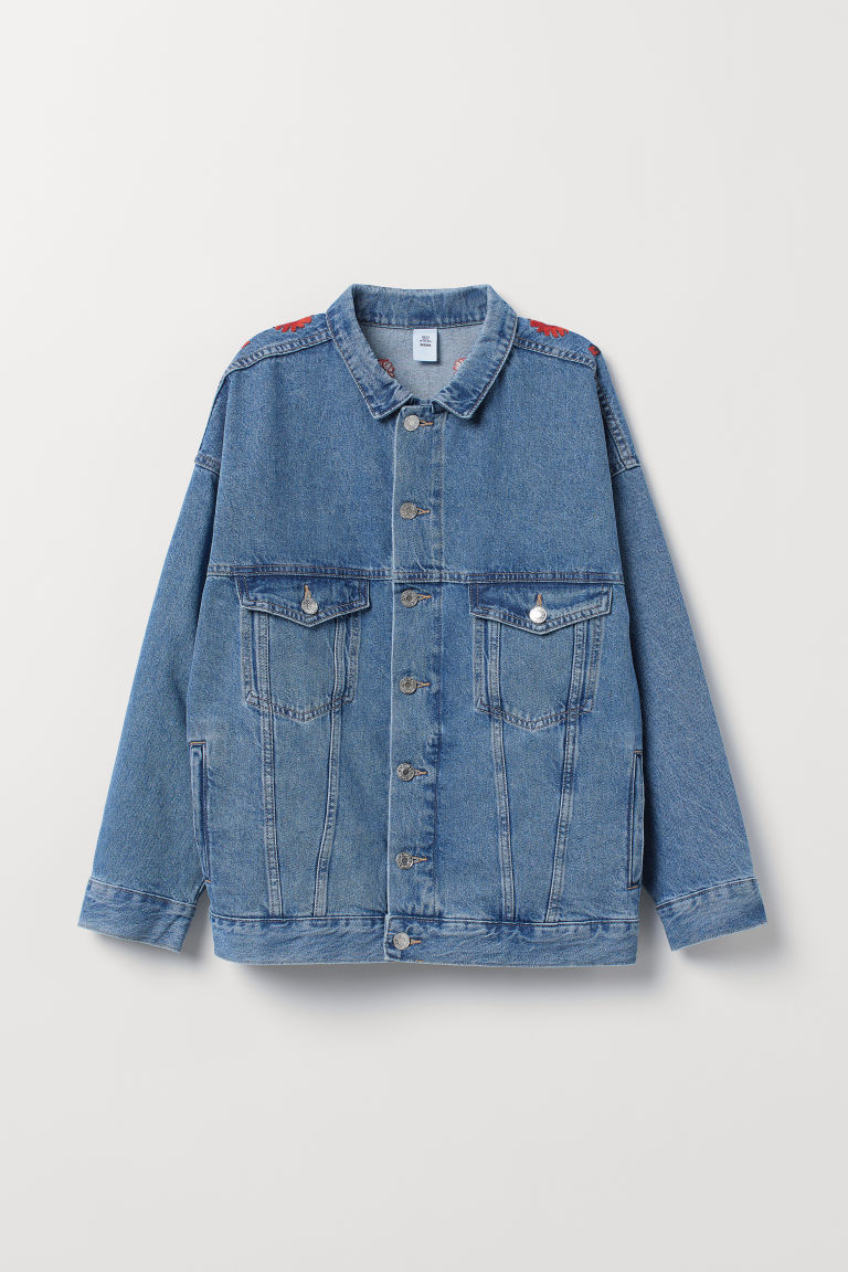 Oversized denim jack - Denimblauw/borduursel -  | H&M NL