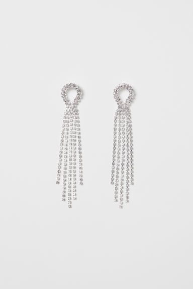 Long sparkly earrings - Silver-coloured - Ladies | H&M IE