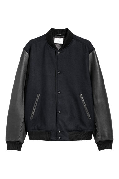 Wool and leather jacket - Dark blue/Black -  | H&M CN