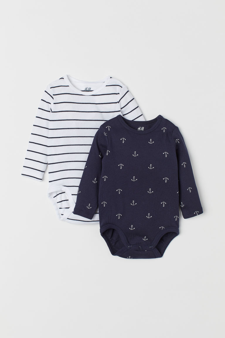 2-pack long-sleeved bodysuits - Dark blue/Anchors - Kids | H&M CN
