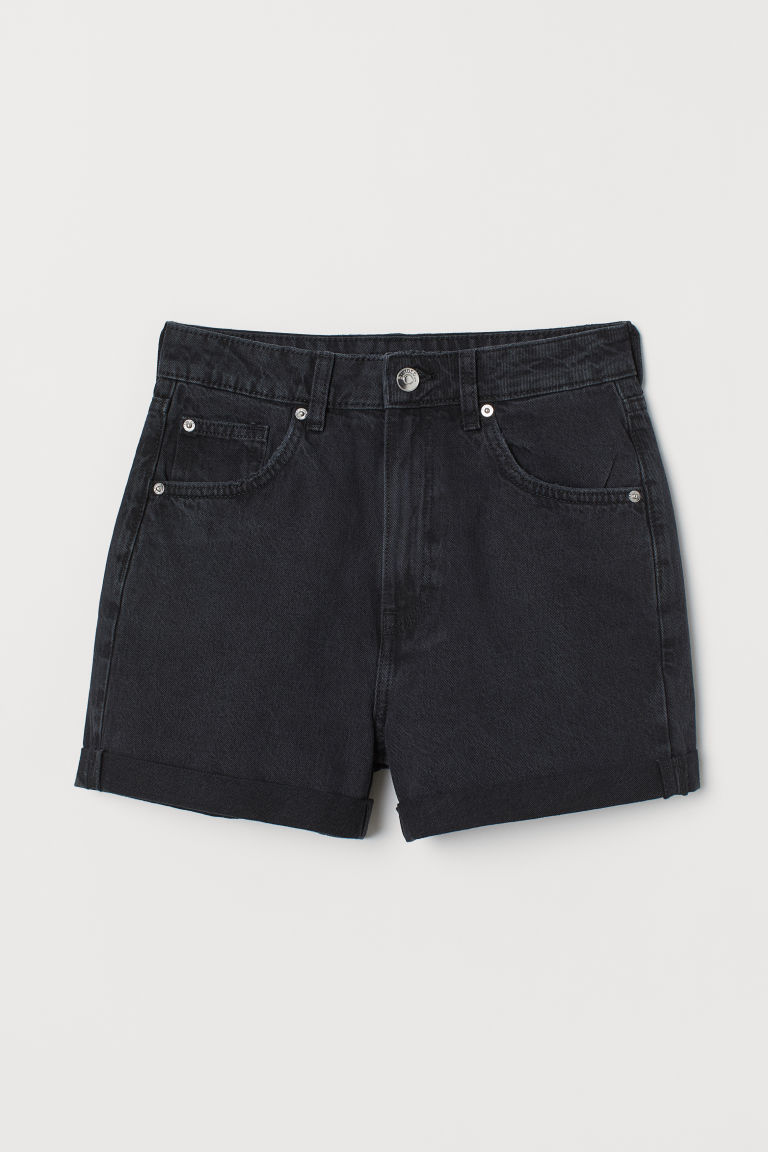 Denim shorts Mom Fit - Black washed out -  | H&M CN