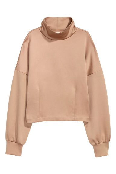 Top with a stand-up collar - Beige -  | H&M CN